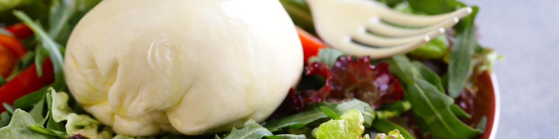 Burrata cheese on top of a garden salad.